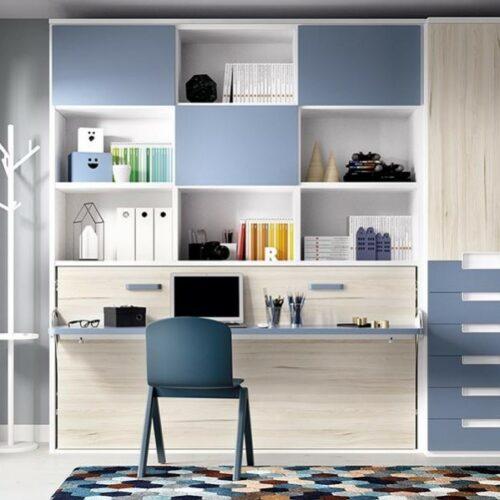 Cama_abatible_horizontal_escritorio_estantería H404_yupih